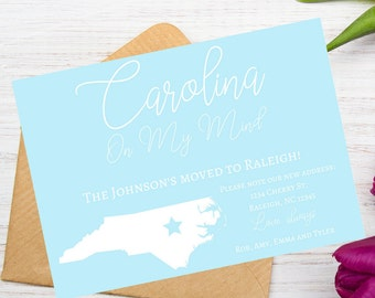 Carolina On My Mind Moving to Georgia Moving Announcement, New Home Postcard, New Address, We've Moved, INSTANT DOWNLOAD, Charlotte, Raleigh