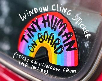 Baby on Board WINDOW CLING  - ONE Child - Rainbow Car Sticker - Katie Abey