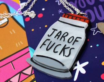 Jar of Fucks - Katie Abey Necklace - Sugar and Vice Necklace - Alternative - Statement Necklace - Sweary Pendant