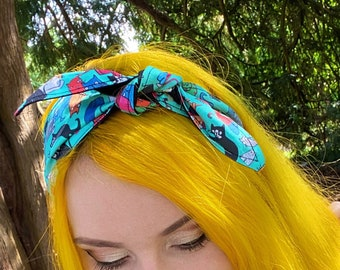 Cat Hair Tie - Katie Abey - All of the cats - Bandana - Hair Tie - Headband - Dawnys Sewing Room
