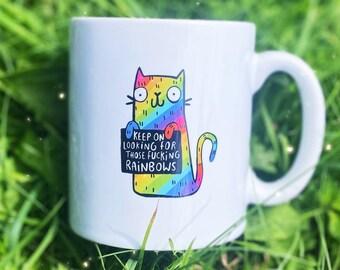 Rainbow Cat Mug - Keep going - Mental health - Katie Abey