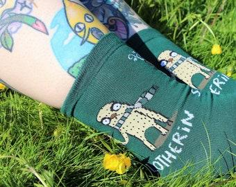 Slotherin Socks - HP - Punny Socks - Colourful Socks - Katie Abey Socks