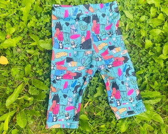 All of the Cats Baby Leggings 0 - 3 Months - Handmade - Made In The UK - Newborn Baby Leggings - Katie Abey - Dawnyssewingroom