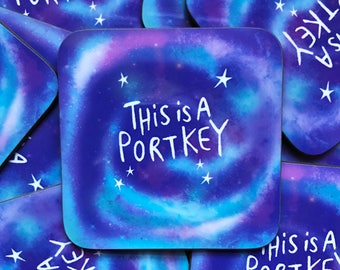 This is a Portkey Coaster - Coaster  - Cat Coaster - Magic gift - Teen Gift - Mat - Katie Abey