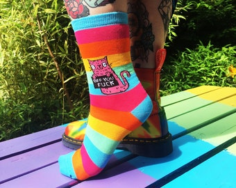 Off You Fuck Rainbow Socks - Sweary Cat Socks - Pink Cat - Katie Abey Socks - Rude Socks