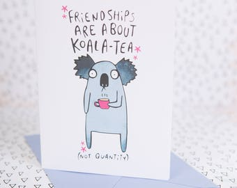 Koala card etsy digital download friendships are about koala tea not quantity greeting card card for him card for her katie abey tea lover m4hsunfo