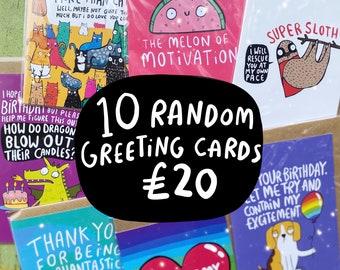 Mystery Bargain Bundle - 10 Random Greeting Cards - Katie Abey