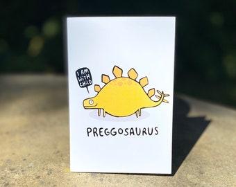 Preggosaurus Pregnancy Card - New Baby - New Mum - Greeting Card - Humour - Baby shower - Mum To Be - Katie Abey