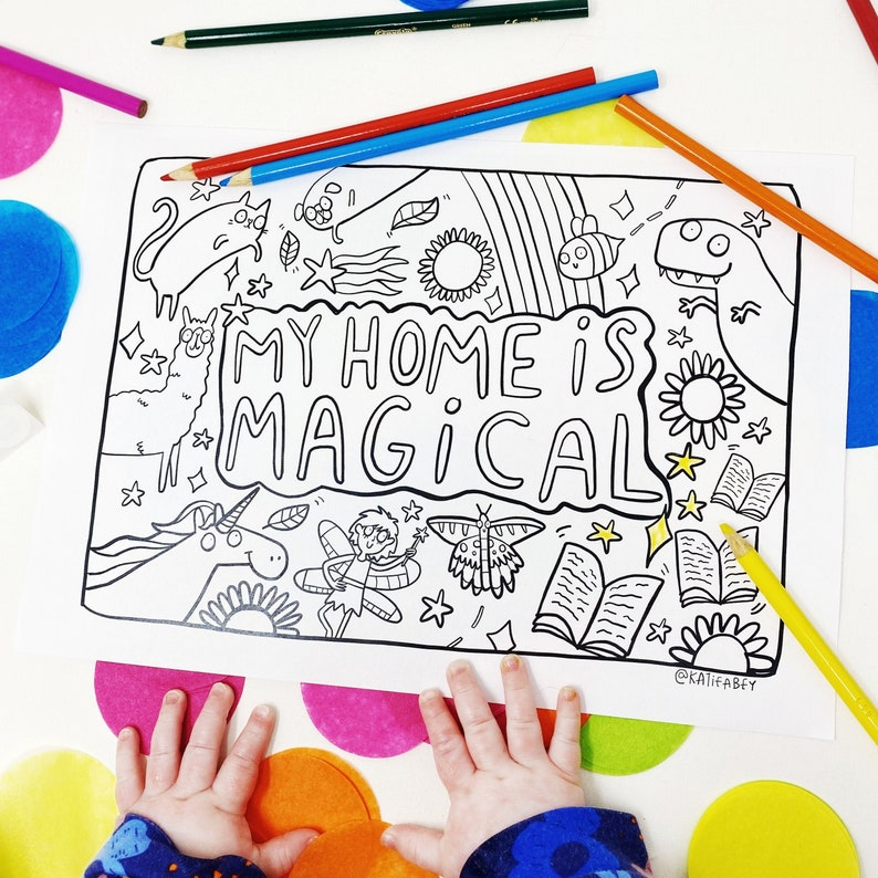 PRINT AT HOME  My Home is Magical  A4 Colouring Sheet image 0