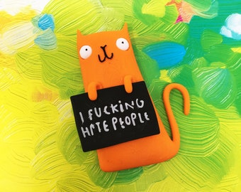 I fucking hate people - Honest Rainbow Cats - Fridge Magnet - Offensive gift - Insult gift - Swear gift