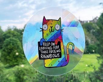 Sweary Rainbow Cat Sun Catcher  - Katie Abey - Motivational - Positivity - Pride