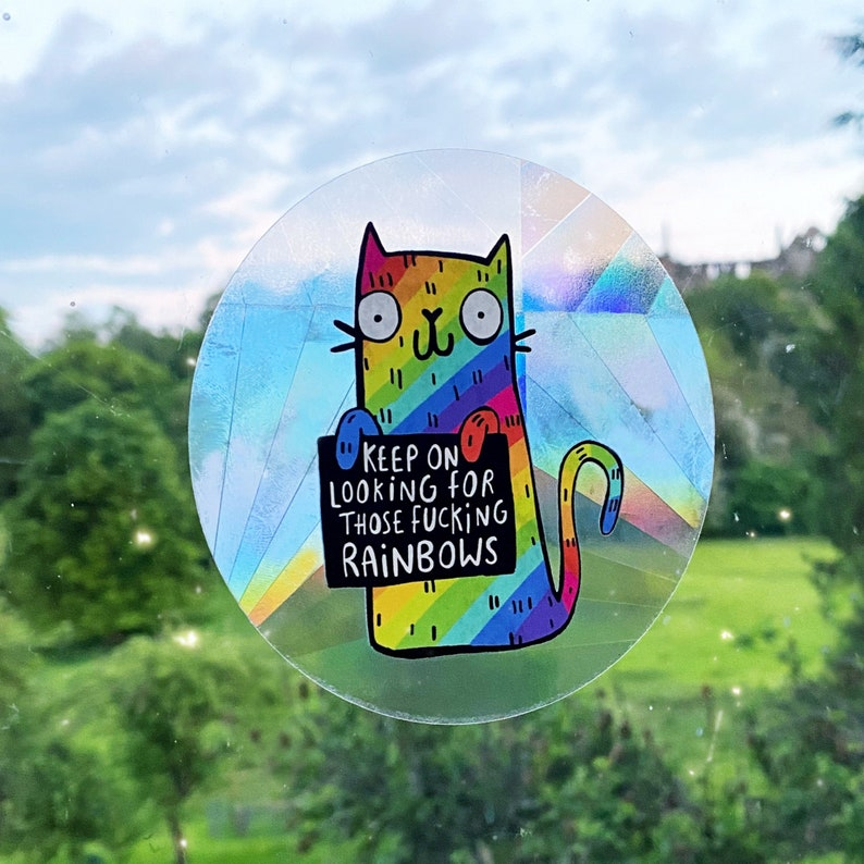Sweary Rainbow Cat Sun Catcher   Katie Abey  Motivational  image 0