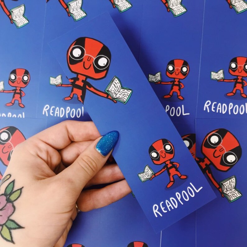 Deadpool Bookmark  Bookworm   Pun bookmark  Katie Abey image 0