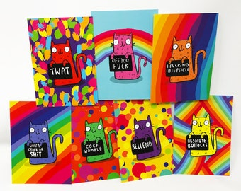 Honest Rainbow Cats - Offensive Postcards - Insult Cats -  Illustrated Postcard Pack - 7 Pack - Pun Postcards