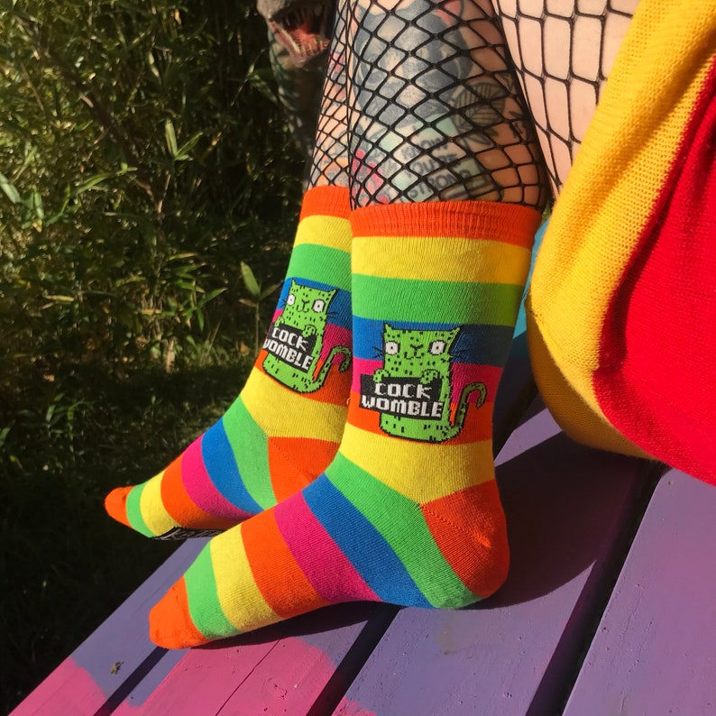 Cock Womble Rainbow Socks  Sweary Cat Socks  Green Cat  image 0
