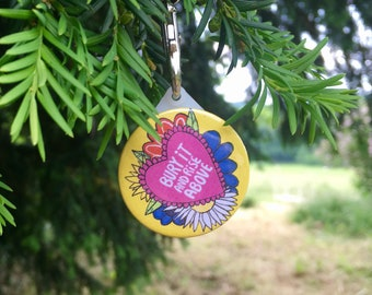 Bury It And Rise Above - Mini Keyring - Motivational - 38mm - positive - Keyring - Katie Abey - party