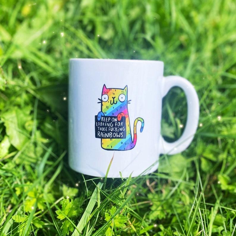 Rainbow Cat Mug  Keep going  Mental health  Katie Abey image 0