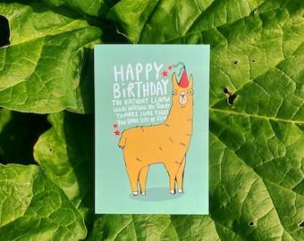 Birthday Llama A6 Card - Lama - Animal Card - Funny - Greeting Card - Party Card - Katie Abey