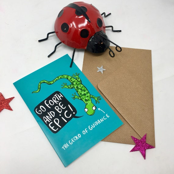 Gecko of Guidance Card - Good Luck Card - New Job card - Gap year - Birthday card - Katie Abey - graduation