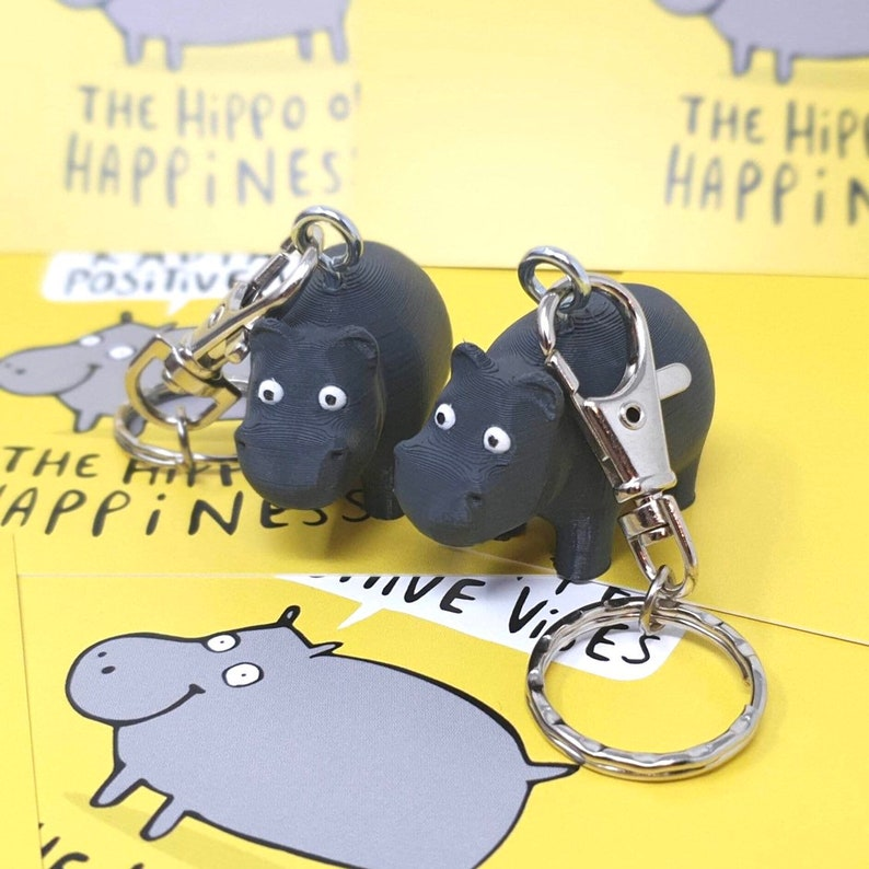 The Hippo Of Happiness Keyring  3D printed  PLA  positivity image 0