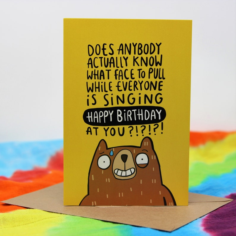The Birthday Bear Greeting Card  Humorous Greeting Card  image 0