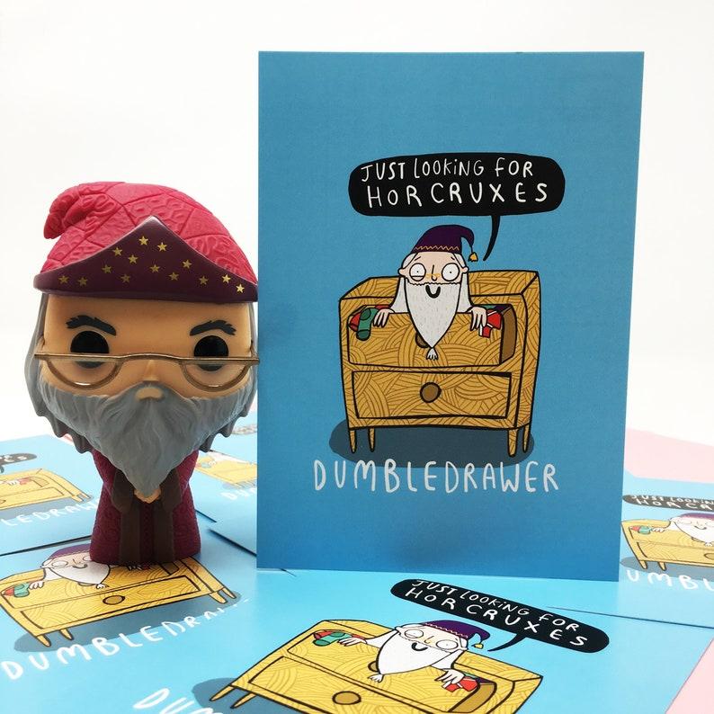 Dumbledrawer postcard- Katie Abey Pun postcard Funny Postcard Wizard postcard