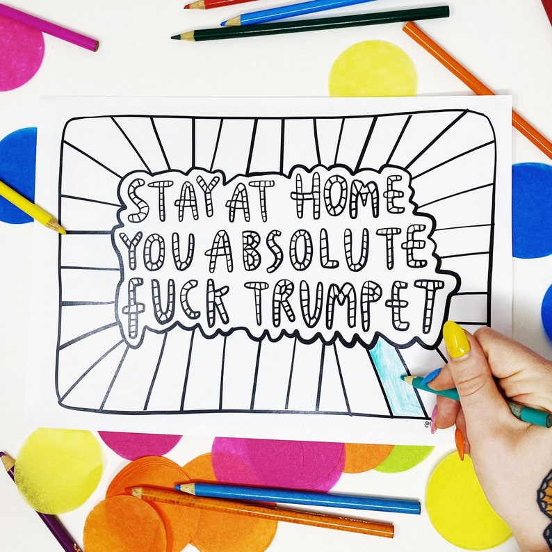 PRINT AT HOME  Stay at home  A4 Sweary Colouring Sheet image 0