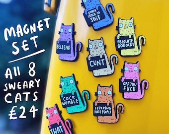 Magnet Set - All 8 Sweary Cat Magnets - Bulk Discount