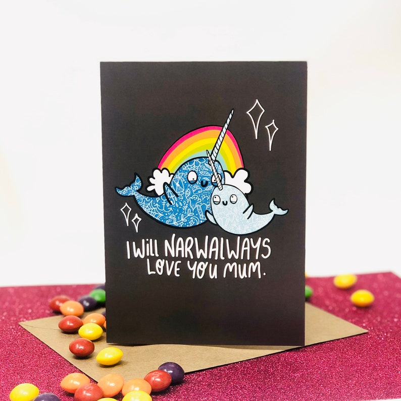 Narwhal Mum Card  Mothers Day  Mum Birthday  Mumma  Mummy image 0