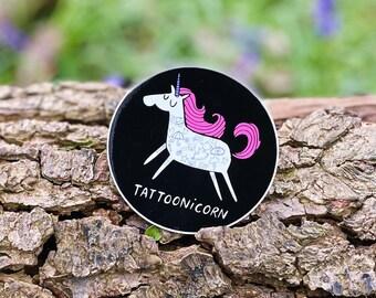 Tattoonicorn VINYL Sticker - 8cm Circle Sticker - Unicorn Sticker - Katie Abey - Tattoo Sticker
