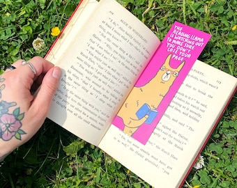 Llama Bookmark - Bookworm  - Funny Bookmark - Katie Abey