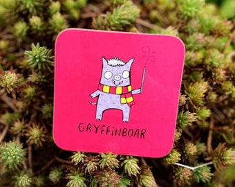 Gryffinboar Coaster Gift - Gryffindor Fan Art - Pun Coaster - Boar - Animal Lover - Katie Abey