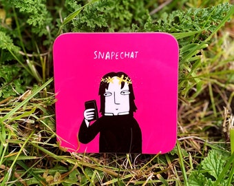 SALE - Snapechat Coaster - Cute Coaster - Funny Coaster - Snapchat Gift - Katie Abey