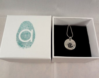 Double Sided Handprint Necklace in Sterling Silver
