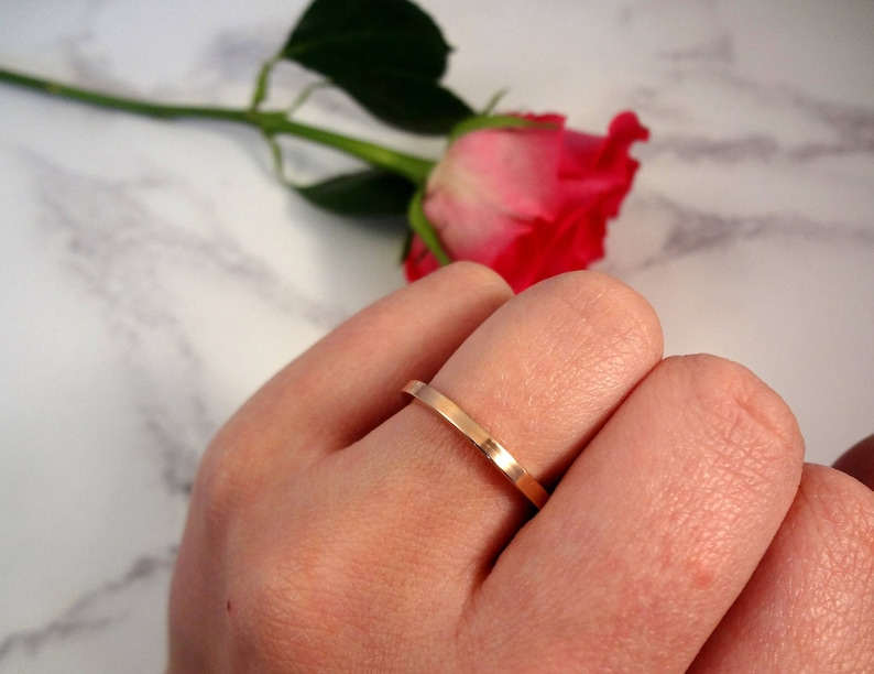 Rose Gold Personalised Slim Stacking Ring with hidden engraved message inside or outside engraved jewellery rose gold jewellery