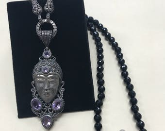 Vintage Asian Sterling Silver Black Beaded Geisha Necklace STUNNING!