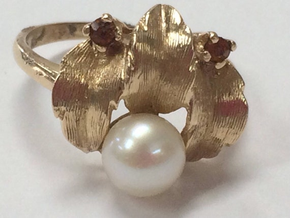 Vintage 14K Yellow Gold 6mm Pearl and Amber Ring S