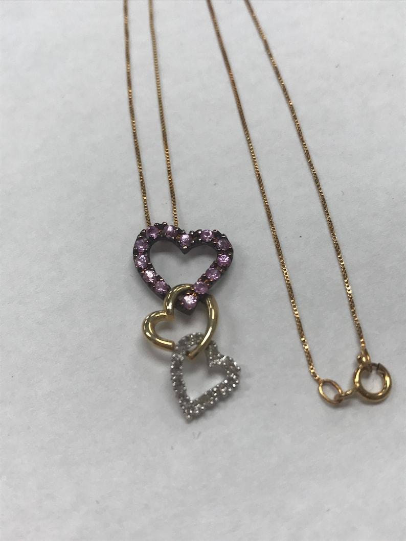 aff507f2bb8 GORGEOUS 14K Rose Gold Multi Heart Diamond Pendant 18   Etsy