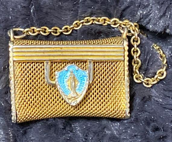 Antique Tiny Metal Mesh Handbag Purse Blessed Moth