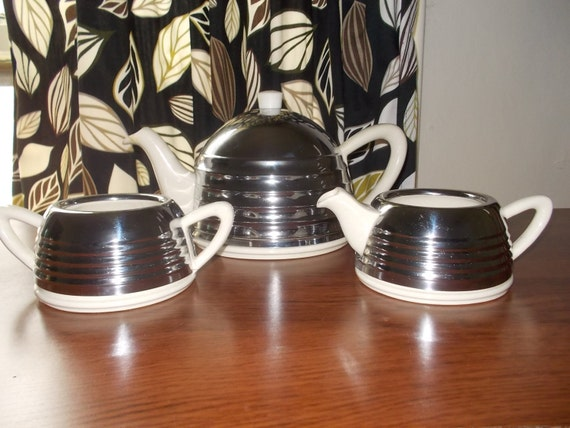Vintage 1950s Art Deco Beehive 3 Piece Coffeetea Set By Etsy