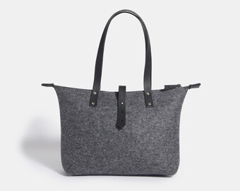 premium quality Wool Felt Tote Bag unique stylish tote bag pure wool felt Zip personalized gift for her handmade in UK