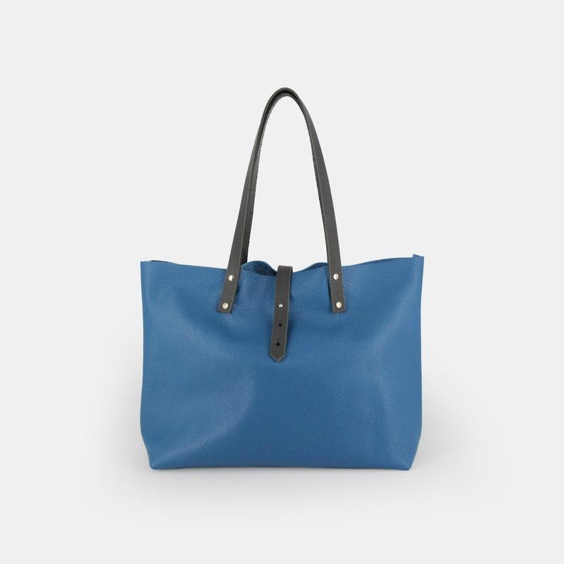 Handmade Shopper Tote Blue Leather Bag UK, MacBook Bag Leather Tote Bag Carry All Laptop Bag Women/'s Bag