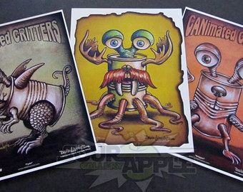 """CANimated Critter """"Fydo"""", """"Stache"""", """"Gripper"""" Art Prints, Set of 3, ORIGINAL DESIGN, Signed and Numbered by David Lizanetz"""