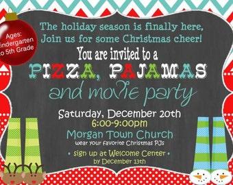pajama christmas invitation pajama party kids christmas party christmas invitation chalkboard christmas party invitation digital chevron - Christmas Pajama Party