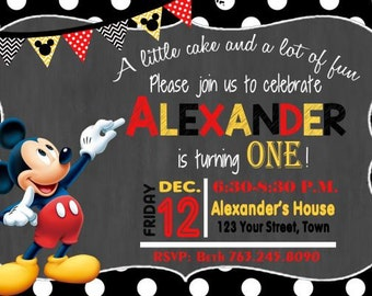MICKEY MOUSE INVITATION Mickey Birthday Card Mouse Party Invitation Boys Polka Dot