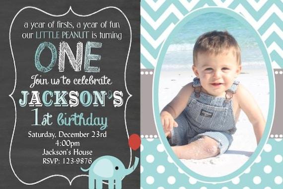 Elephant Birthday Invitation Boy Girl First ONE Chalkboard Neutral You Print Digital 4x6 Or 5x7