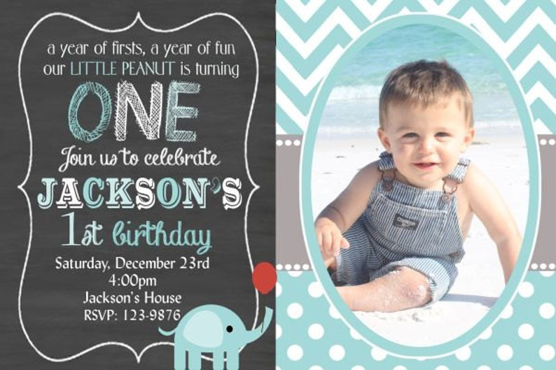 Elephant Birthday Invitation Boy Girl First ONE