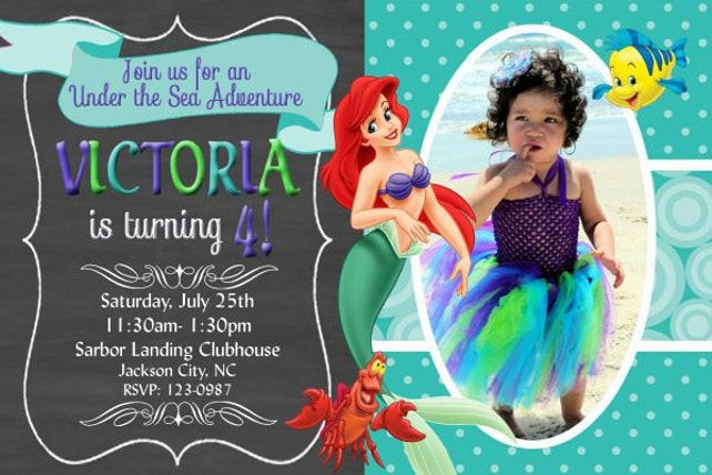 Little Mermaid Invitation Ariel Princess Birthday Party Invitations Includes Envelopes