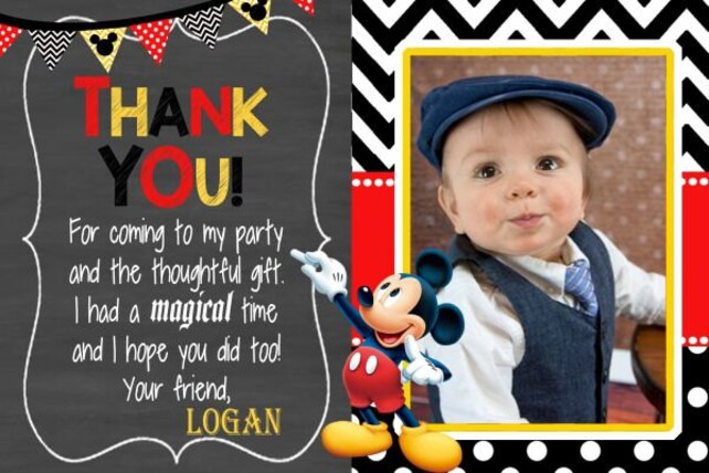 Mickey Mouse Thank You Card Mickey Thank You Card Mickey Mouse