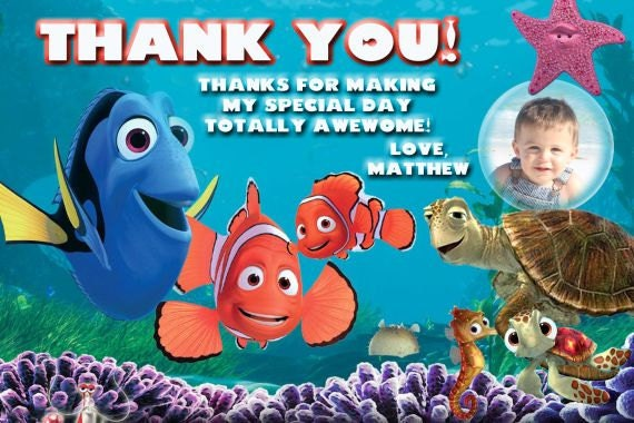 20 Finding Nemo Thank You Cards And Dory Birthday Thank You Etsy